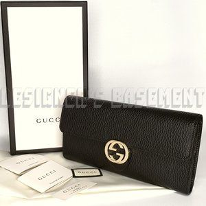 GUCCI black Icon INTERLOCKING G Continental Wallet